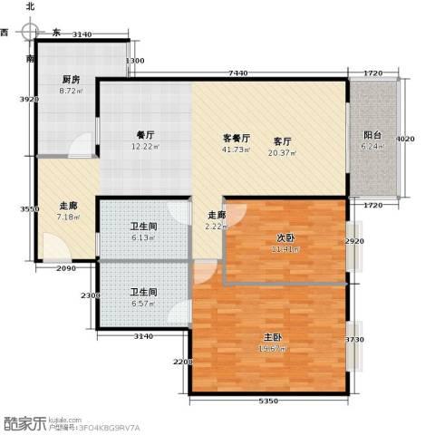 新华经典丽园2室1厅2卫1厨107.00㎡户型图