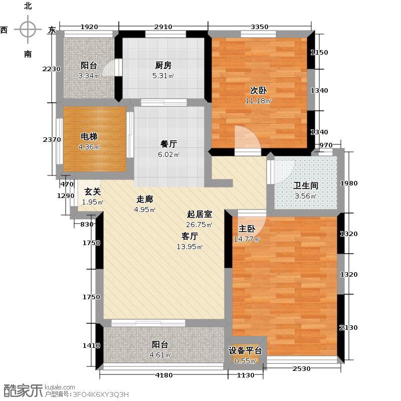 中大九如堂一期90.00㎡房型: 二房; 面积段: 90 -100 平方米; 户型