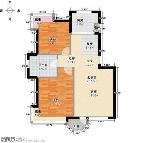 香洲心城一期2室0厅1卫1厨76.00㎡户型图