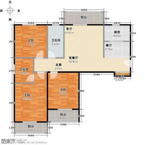 汉武国际城3室1厅2卫1厨128.00㎡户型图