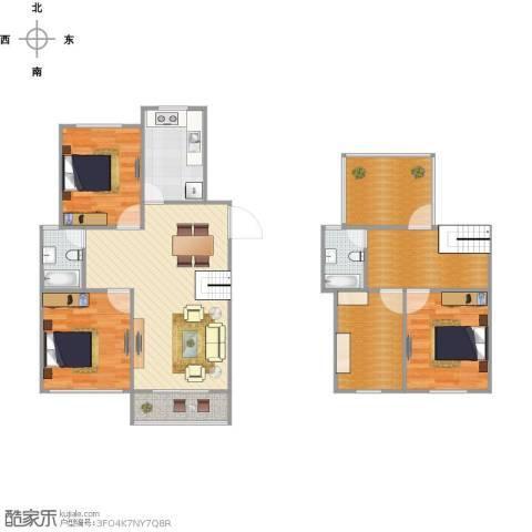 陈渡新苑3室1厅2卫1厨118.00㎡户型图
