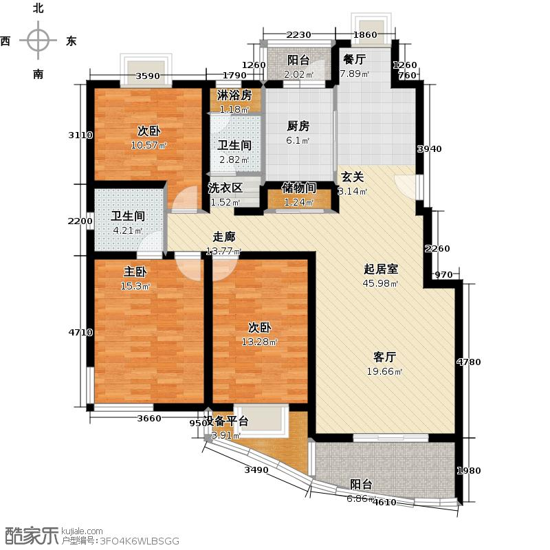 龙威茗庭130.00㎡房型: 三房; 面积段: 130 -140 平方米; 户型