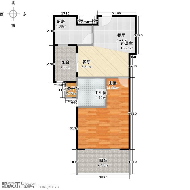 绿地蓝海庭(绿地东岸涟城一期)50.00㎡一房一厅一卫-53平方米-67套户型