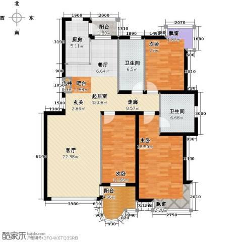 香洲心城一期3室0厅2卫1厨124.00㎡户型图