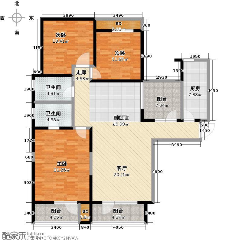 万科金域蓝湾三房两厅两卫 建筑面积约143㎡户型