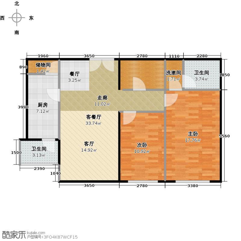 紫金长安2室2厅2卫1厨2A户型图户型