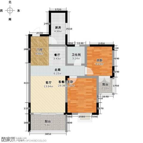 华韵城市风情(一期)2室1厅1卫1厨98.00㎡户型图