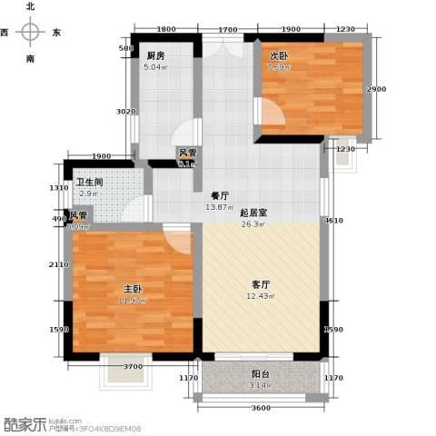 橄榄君庭2室0厅1卫1厨80.00㎡户型图