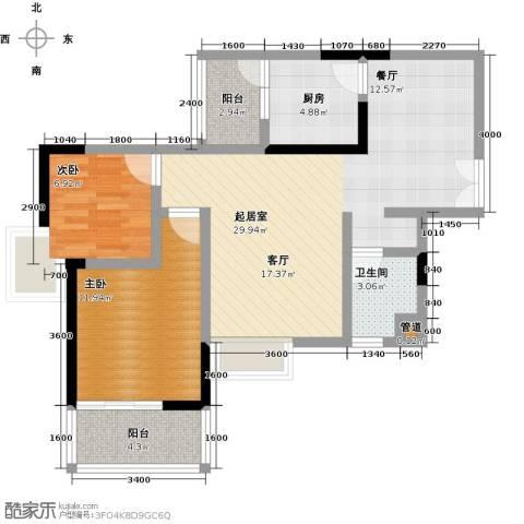橄榄君庭2室0厅1卫1厨87.00㎡户型图