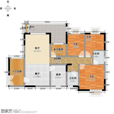 橄榄君庭3室0厅2卫1厨131.00㎡户型图