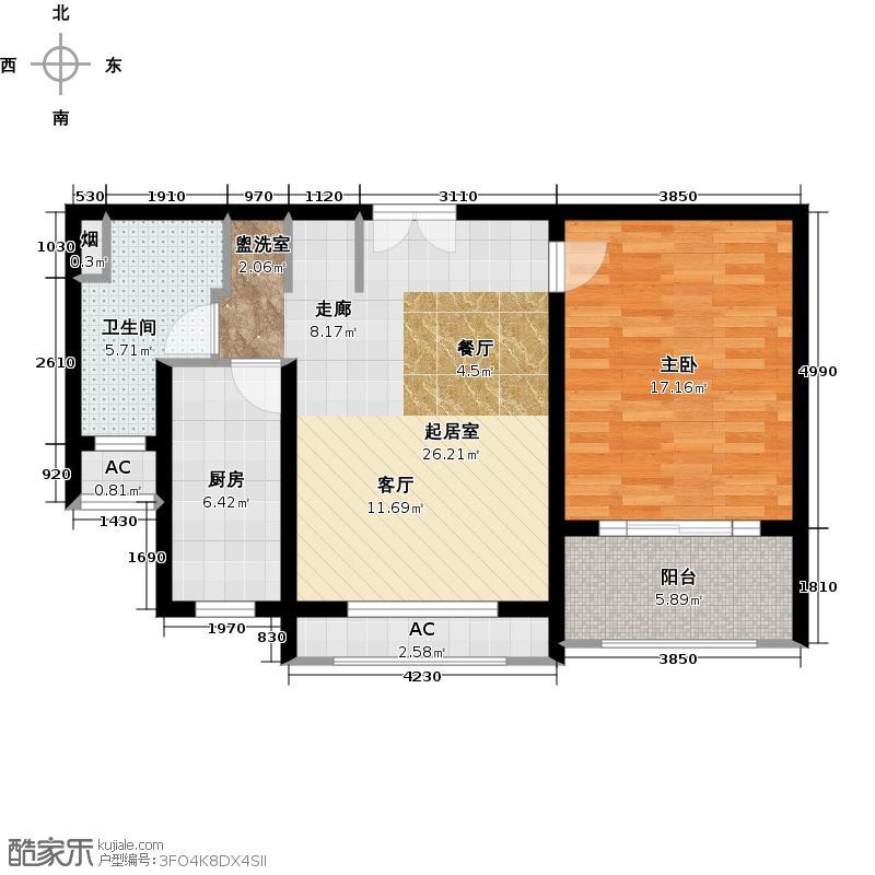 假日景苑80.00㎡一房二厅一卫-83平方米-18套户型
