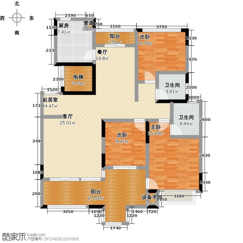 中城丽景香山户型3室2卫1厨