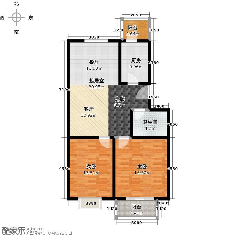 新澳花园项目周边 四纬路二室二厅一卫-88.13-88.17平米户型