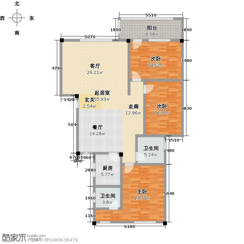 鸿景公寓142.80㎡三室二厅户型