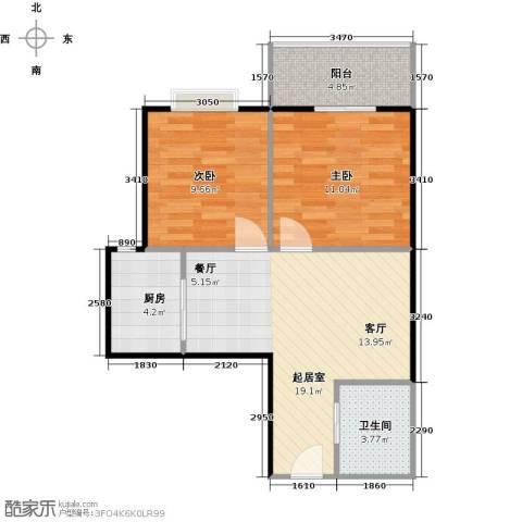 八佳花园20#楼(西城品格)2室0厅1卫1厨61.00㎡户型图