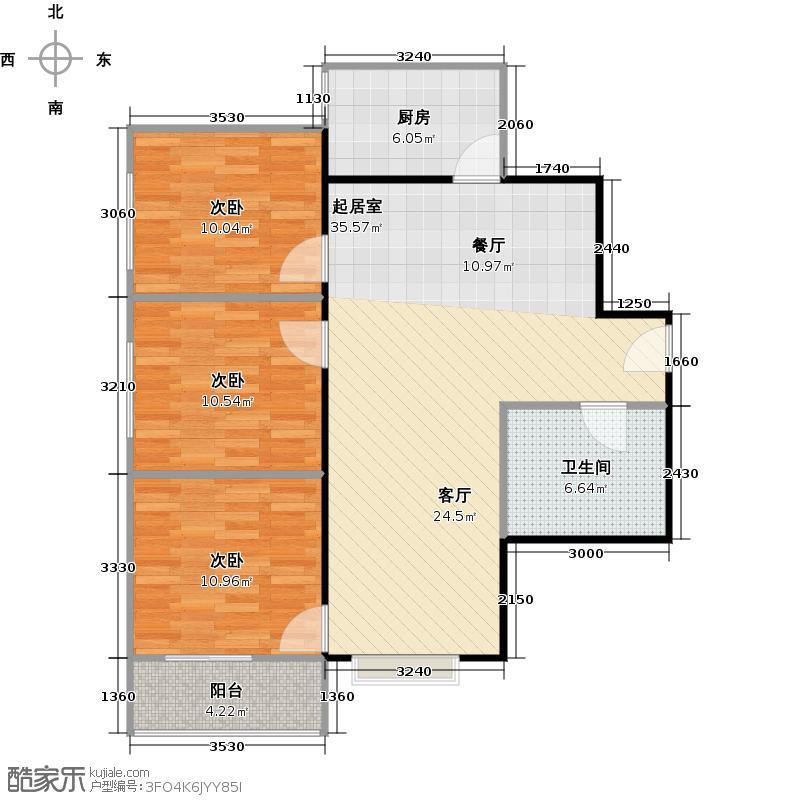 八佳花园20#楼(西城品格)92.25㎡三房A户型