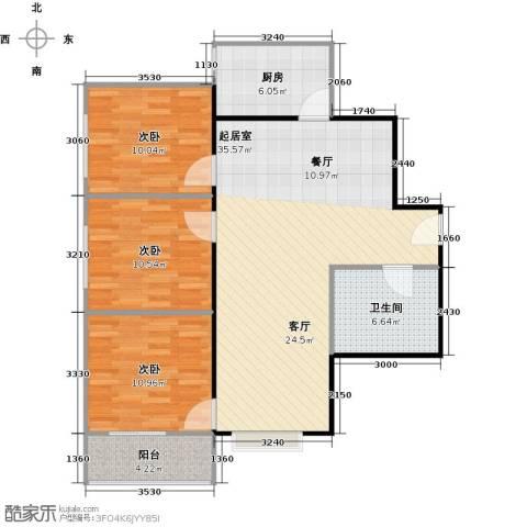 八佳花园20#楼(西城品格)3室0厅1卫1厨92.00㎡户型图