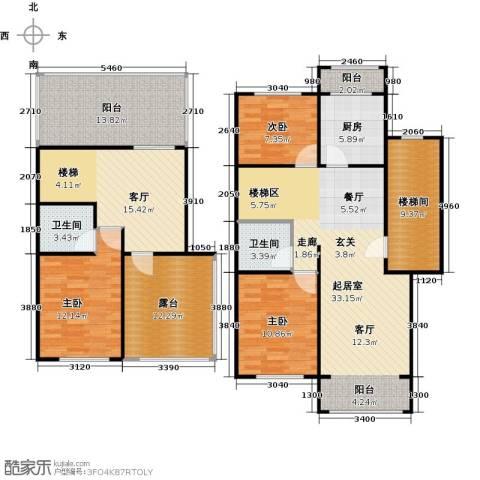 蓝调沙龙3室1厅2卫1厨151.00㎡户型图