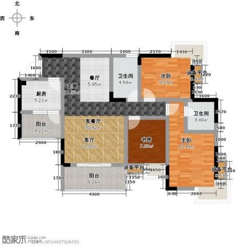 达飞・彩云小城3室1厅2卫1厨126.00㎡户型图