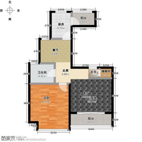 君临六六公寓1室0厅1卫1厨70.00㎡户型图