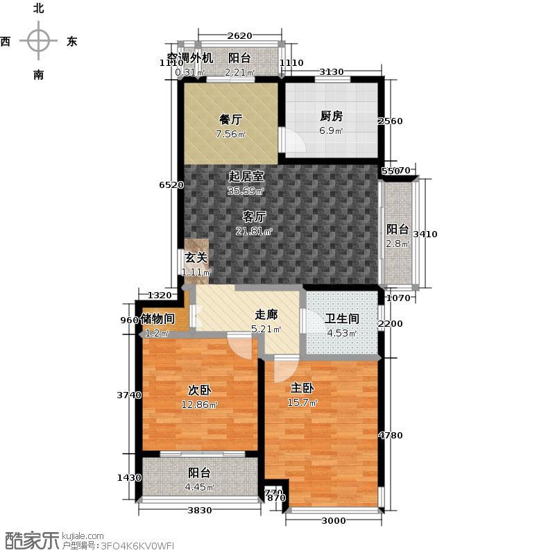 君临六六公寓110.00㎡房型: 二房; 面积段: 110 -120 平方米; 户型