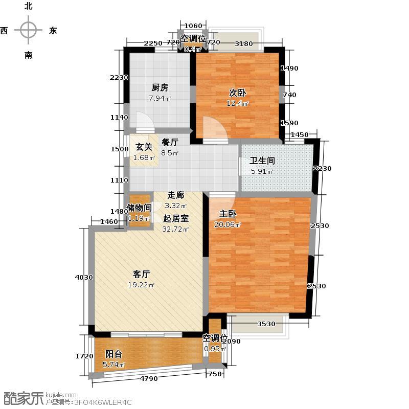 衡辰三林苑房型户型2室1卫1厨