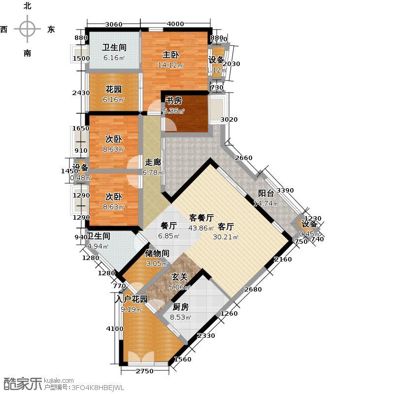 保利香槟花园四房二厅二卫133.07平方米户型