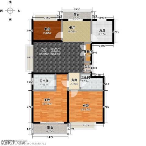 君临六六公寓3室0厅2卫1厨120.00㎡户型图