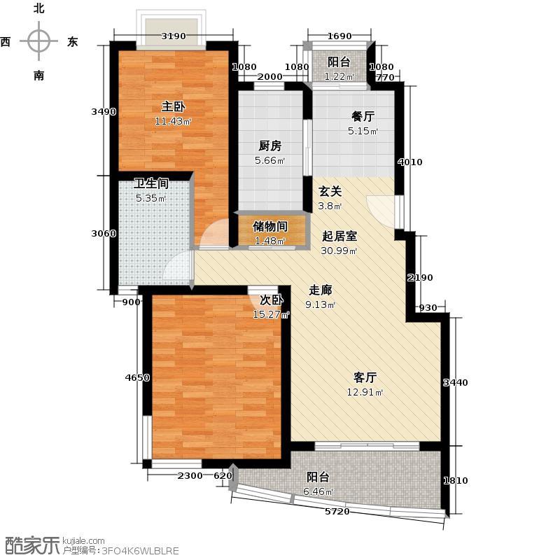 龙威茗庭90.00㎡房型: 二房; 面积段: 90 -100 平方米; 户型