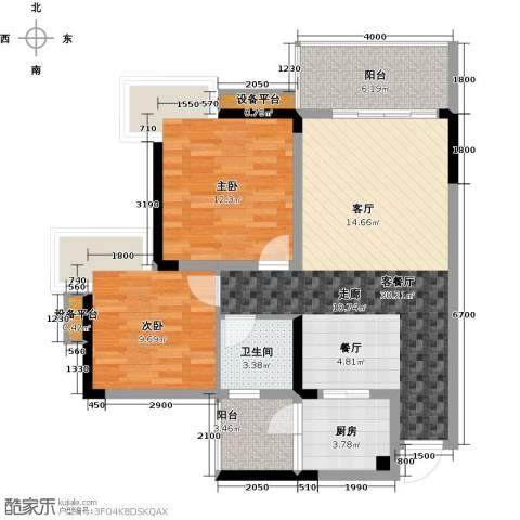 达飞・彩云小城2室1厅1卫1厨102.00㎡户型图