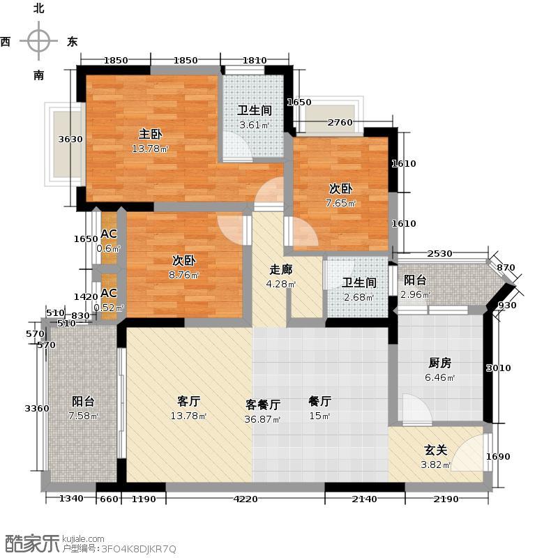 翠堤春晓・幸福里三房二厅92.89平方米户型