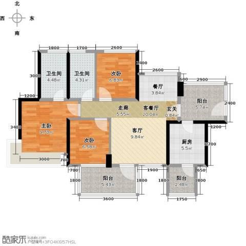 潜龙曼海宁3室1厅2卫1厨89.00㎡户型图