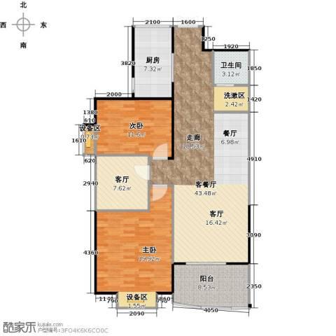 荣德棕榈湾二期2室2厅1卫1厨110.00㎡户型图