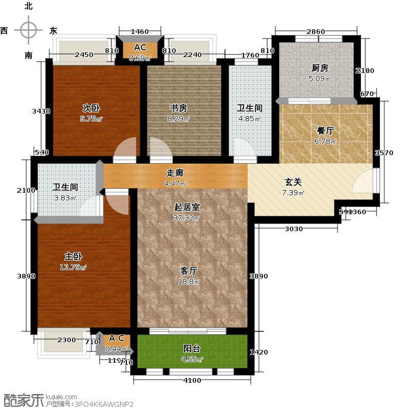 泰达御海140.00㎡二期H1户型三室两厅两卫户型3室2厅2卫