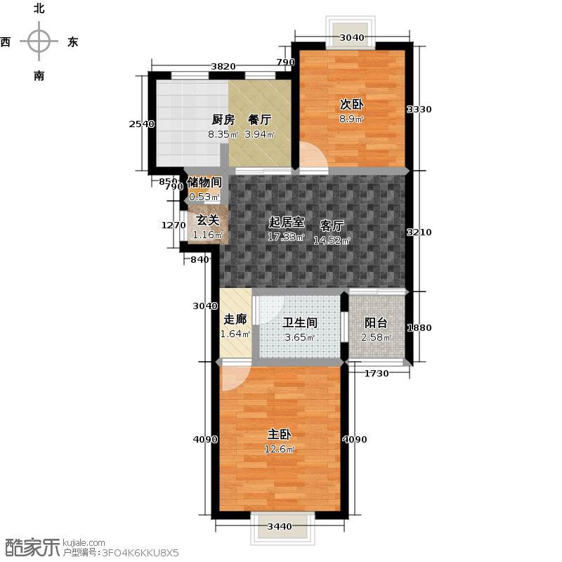 北桥城中城70.00㎡房型: 二房; 面积段: 70 -80 平方米; 户型