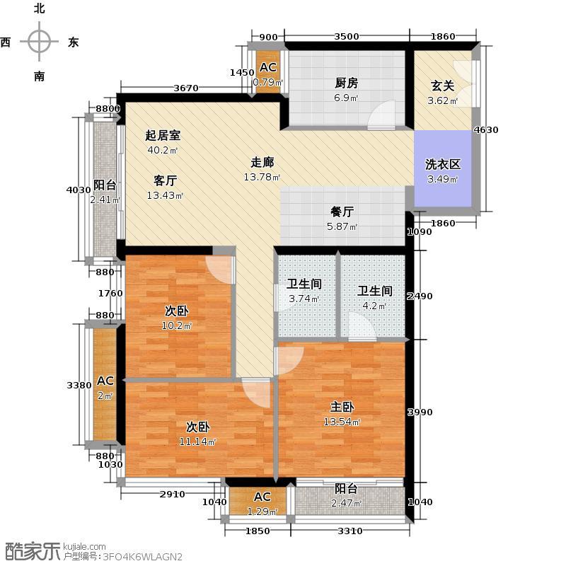 龙威茗庭三房两厅两卫户型
