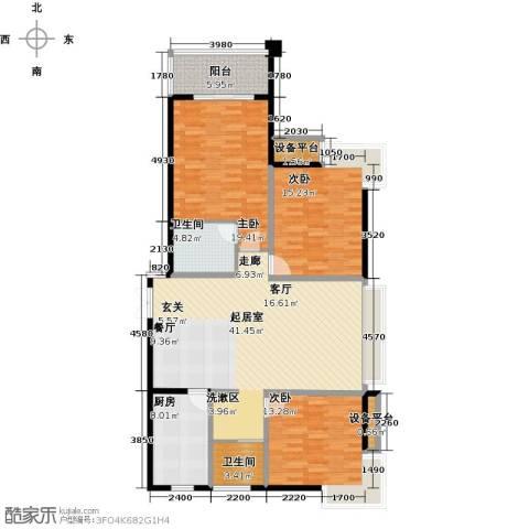 国泰名都3室0厅2卫1厨126.73㎡户型图