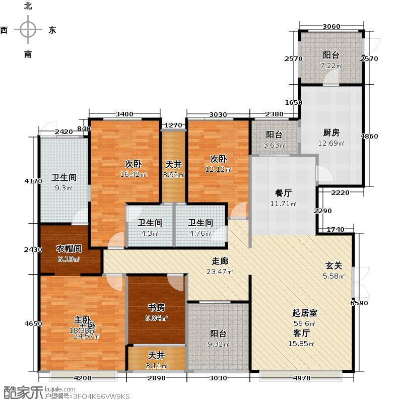 锦绣香江布查特官邸3期15栋D02户型4室3卫1厨