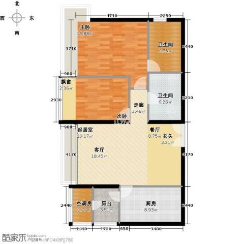 海晟国际公寓2室0厅2卫1厨96.00㎡户型图