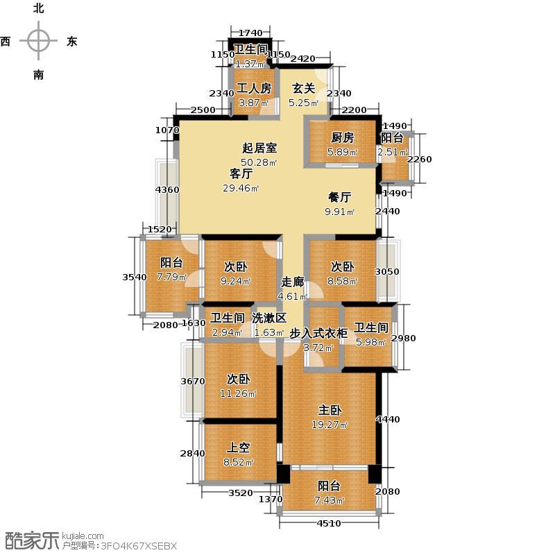 波托菲诺香山里二期6、7、8栋偶数层B户型4室3卫1厨
