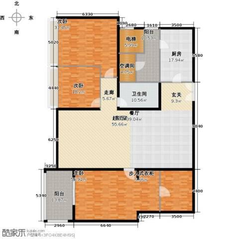 海晟国际公寓3室0厅1卫1厨326.00㎡户型图