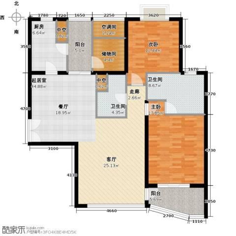 海晟国际公寓2室0厅2卫1厨128.00㎡户型图