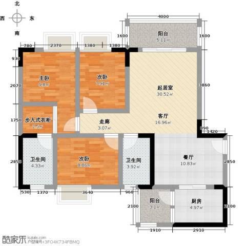 海锦御林苑3室0厅2卫1厨106.00㎡户型图