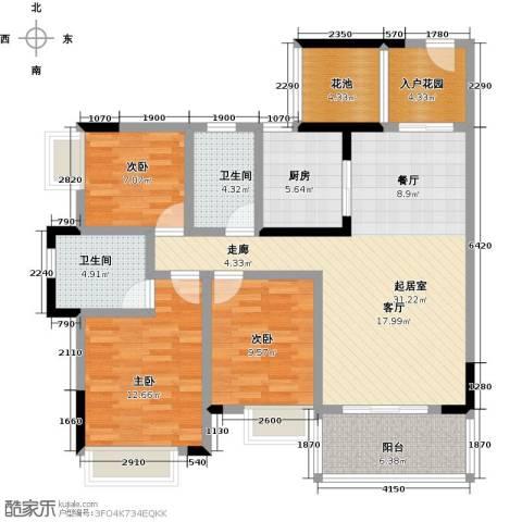 海锦御林苑3室0厅2卫1厨113.00㎡户型图