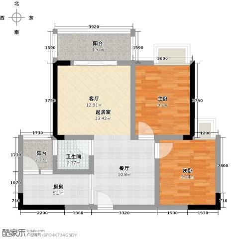 海锦御林苑2室0厅1卫1厨75.00㎡户型图