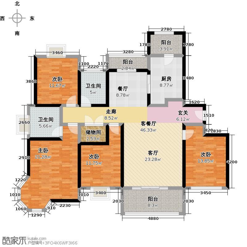 绿地崴廉宫爵四房二厅二卫,面积约164平方米户型