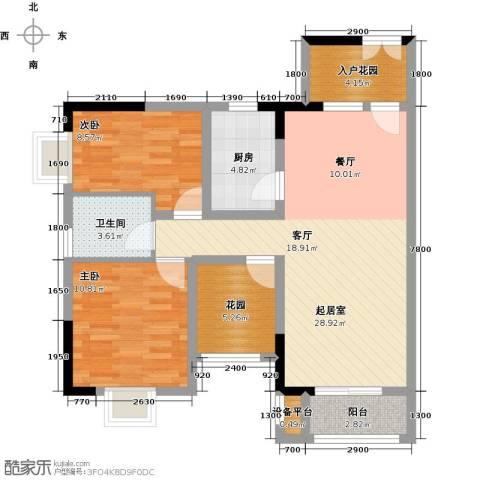 橄榄君庭2室0厅1卫1厨91.00㎡户型图