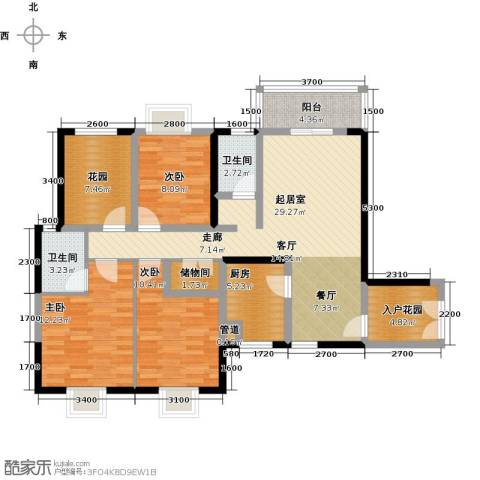 橄榄君庭3室0厅2卫1厨120.00㎡户型图
