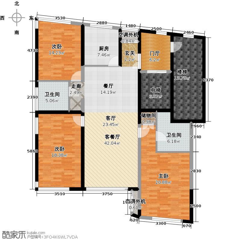 樱桃苑130.00㎡房型: 三房; 面积段: 130 -140 平方米; 户型