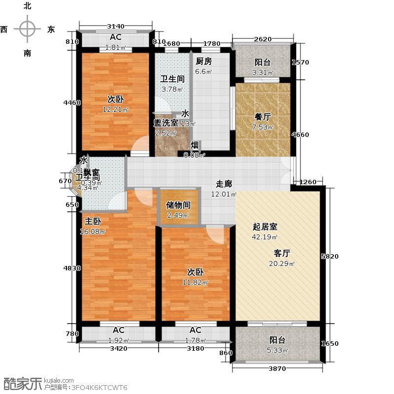 假日景苑130.00㎡房型: 三房; 面积段: 130 -140 平方米; 户型